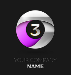 silver number three logo in silver-purple circle vector image