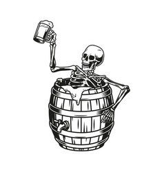 Skeleton sitting in beer wooden barrel vector
