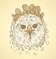 Sketch harpia bird head in vintage style vector