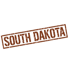 South dakota brown square stamp vector