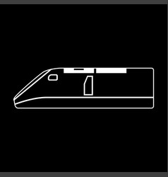 Speed train white color path icon vector
