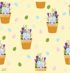 spring seamless patterns with green twigs vector image