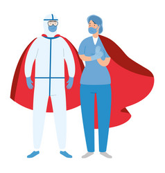 super person with biohazard suit and paramedic vector image