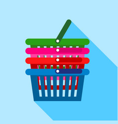 Supermarket baskets icon flat style vector