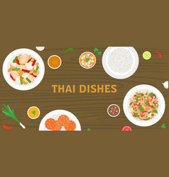 thai dishes on wooden background vector image