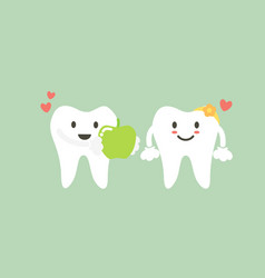 tooth boy give fresh green apple to girl vector image
