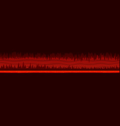 Unending red landscape with dark hell cave vector