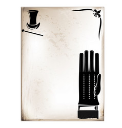 vintage card male glove vector image