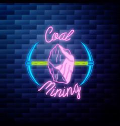 Vintage coal mining emblem vector