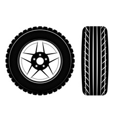 Wheels and tires are black for a logo or emblem vector