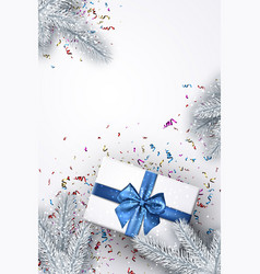 white new year background with gift vector image