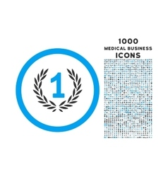 Win Emblem Rounded Icon with 1000 Bonus Icons vector image