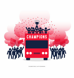 winner cup soccer celebration on open top buses vector image
