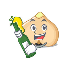 With beer chickpeas mascot cartoon style vector