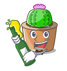 With beer mascot star cactus decorate in the vector