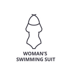 woman swimming suit line icon outline sign vector image