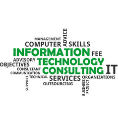 word cloud - information technology consulting vector image