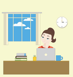 cartoon girl bored at work and looked at the vector image