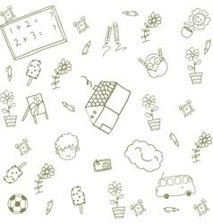 Green house happy kids doodle vector image vector image