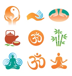 Massage spa yoga icons vector image