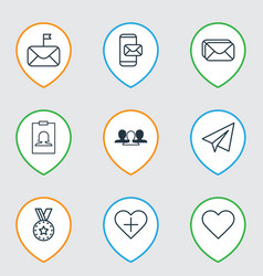set of 9 social network icons includes phone vector image