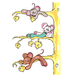 three mice are on the cheese tree vector image vector image