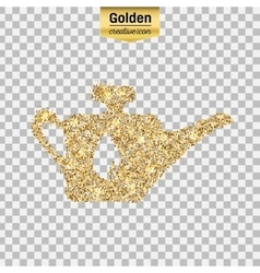 Gold glitter icon of oil lubricator vector