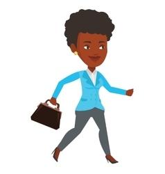 Happy businesswoman running vector image