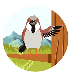 Happy Sparrow on the Tree flat background vector image vector image