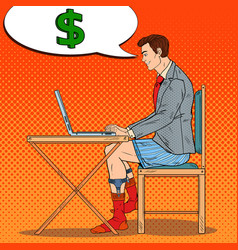 Pop art businessman working late at home vector