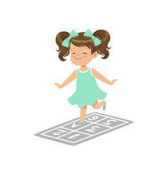 Preschool girl playing in jumping hopscotch game vector