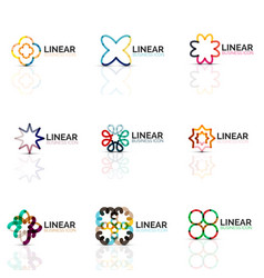 set of geometric minimalistic abstract icons vector image