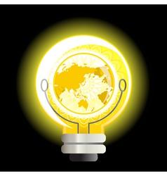 yellow world light bulb vector image