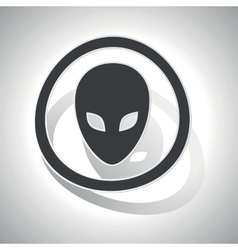 Alien sign sticker curved vector