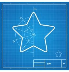 Blueprint star card vector
