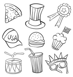 Collection of memorial day hand draw doodles vector