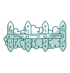 Fence park with bush isolated icon vector