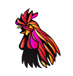 red rooster outline vector image vector image