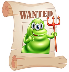 A wanted monster holding a death fork vector image vector image