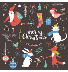 Big Set of Christmas graphic elements vector image vector image