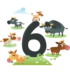 Collection number for kids farm animals - number 6 vector image