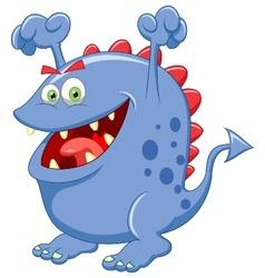 Cute blue monster cartoon vector