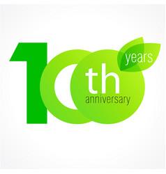 100 anniversary green logo vector
