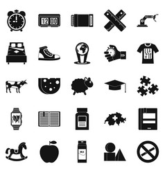 Alarm icons set simple style vector