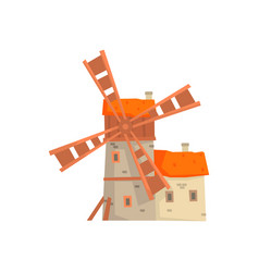 ancient stone windmill building with millers house vector image
