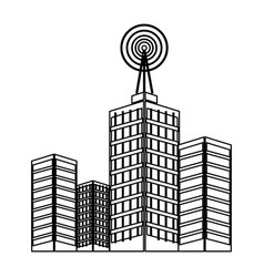 antenna on buildings in the city technology vector image