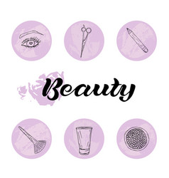 beauty and body care icons set vector image