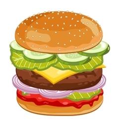 Big Burger on white background vector