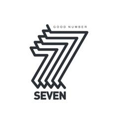 Black and white number seven logo formed by vector image