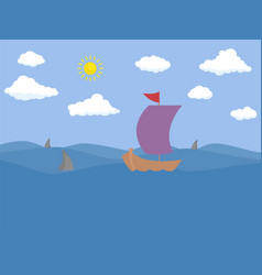 boat on ocean concept flat design icon objects vector image